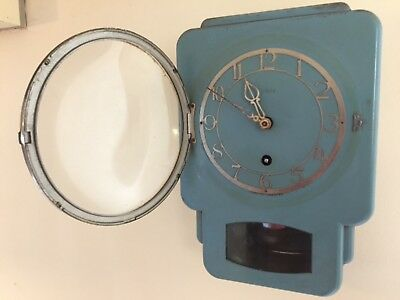 Art Deco style 1950's Smiths of Enfield wall clock metal case, working with key