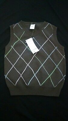 New with tags Gymboree brown argyle boys sweater vest xs 3-4 years twins