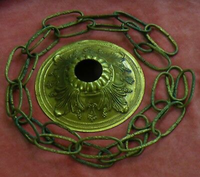 VINTAGE CAST BRASS CHANDELIER CEILING CAP CANOPY w/ CHAIN - Made in Spain