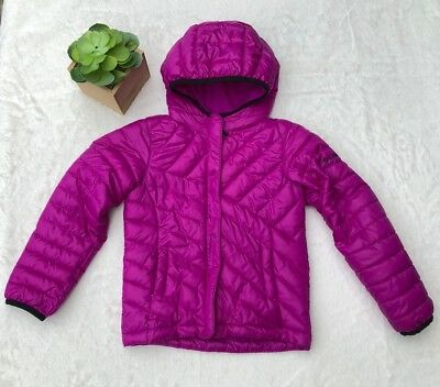 Girls Columbia XXS 4/5 Purple Puffer Jacket Zip Down Adjustable Hood