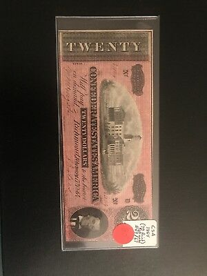 1864 Confederate States America $20 Twenty Dollar Bill Currency Note