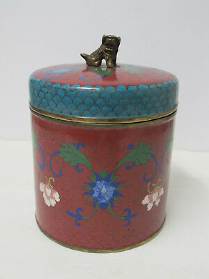 Antique Large Chinese Cloisonne humidor canister jar box or Tea Caddy 7-3/8""