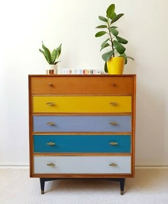 Superb Mid Century Blue & Mustard Chest of Drawers Vintage 1950s 1960s Retro
