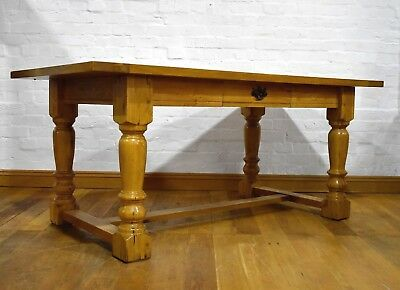 Large rustic chunky farmhouse oak kitchen dining table