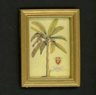 Dollhouse Miniature Gold Framed Picture of a Palm Tree