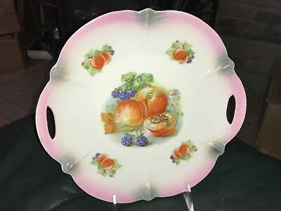 ANTIQUE GERMAN Cake Plate with Fruit and Scalloped Edge RETICULATED HANDLES