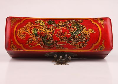 Leather Jewelry Box Dragon Phoenix Red Dowr Style Ancient Marriage Series