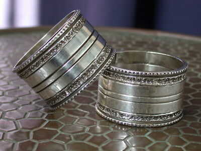 2 Antique Deco Silver T Silverplate  Napking Rings Pair No Reserve