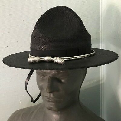 """New State Trooper Hat Stratton Straw Style """"The Lawman"""" Navy Size 7 5/6"""