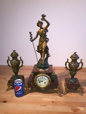Antique French Clock Set Garniture On Red Marble Base. C1890!