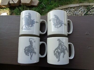 """New Old Stock Marlboro """"4"""" Promotional Cowboy Coffee Cups Bucking Bronco Rodeo"""