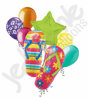 7fb836808 7 pc Colorful Flip Flops Balloon Bouquet Hibiscus Happy Birthday Luau Summer