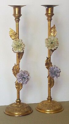 Antique French Bronze Ormolu Gold Candle Holders Porcelain Flowers Leaves Vines
