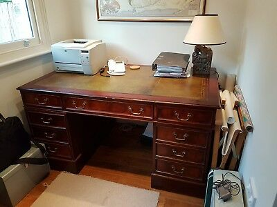 Reproduction pedestal desk with green leather inset