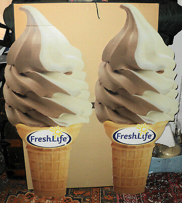 Pair of Vintage Ice Cream Cone Signs Store Display or Props
