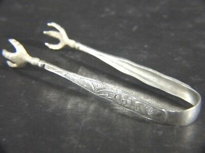 Antique 1877 Whiting Gorham Aesthetic ORCHIDS Sterling Fancy TONGS No Mono
