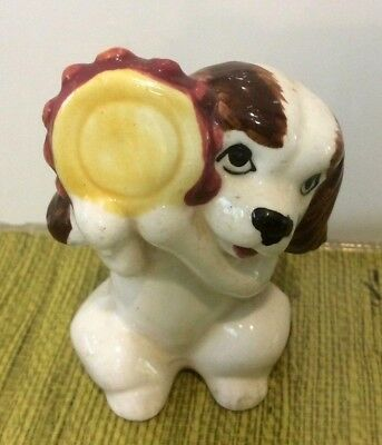 Cute RARE Vintage Small 50s 60s Dog Figurine Playing the Tambourine