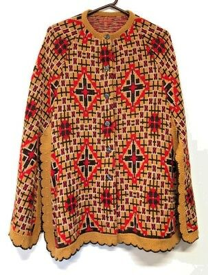 Vintage 70s Boho Knit Sweater Cape Coat Poncho Wool Montgomery Ward Brown Red ML