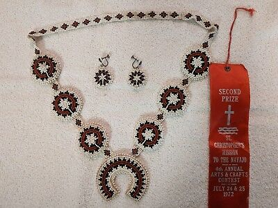 A monumental Navajo wedding blessing Necklace and Earrings with 2nd prize Ribbon