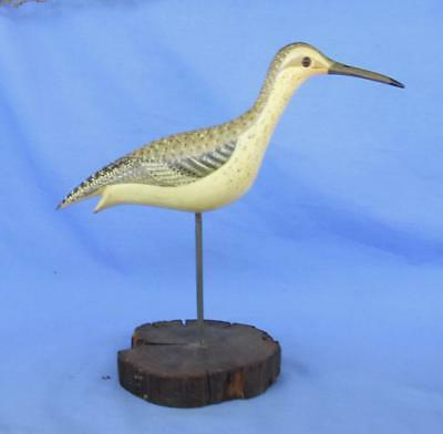 Vintage Carved Wood Shorebird Willet Decoy E Gallego