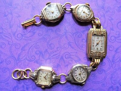 Vintage Antique Art Deco  5 Lot Gold Watch Face Charm Bracelet Steampunk