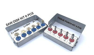 Dental Implant Tissue Punch Kit 5 pcs + Saw Disk Kit 6 pcs with Holders