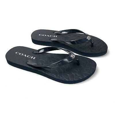 efa92c5f208 NEW Coach Dark Midnight Navy Flip Flops Thongs Size 6 Abbigail Sandals NWOB