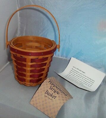 2007 Longaberger Tree Trimming Peppermint Red Stripe Christmas Basket