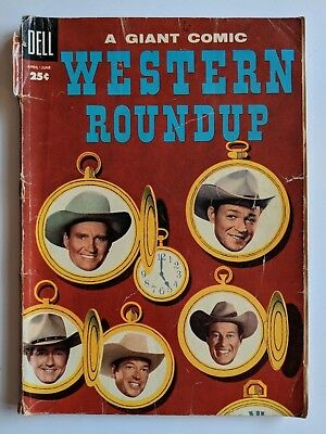 Dell Giant Western Roundup #10 Comic 1955 Photo Cover Gene Autry Roy Rogers