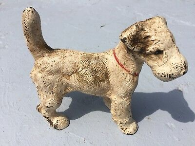 """Antique Hubley Cast Iron Wire Haired Fox Terrier Dog Doorstop - smaller 5"""" size"""