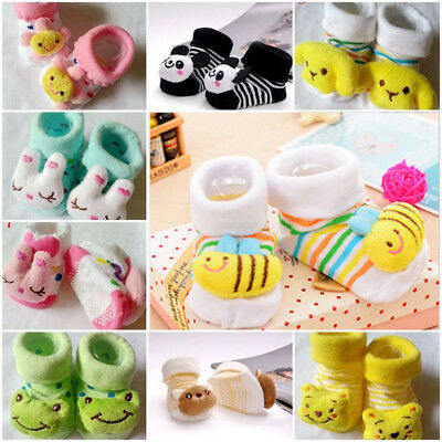Baby Girls Boys Anti-slip Socks Cartoon Newborn Slipper Shoes Boots 0-12 Months