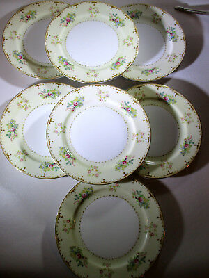 Vintage Meito China Made in Japan 7 Salad Plates Yellow Floral Border Pink Roses