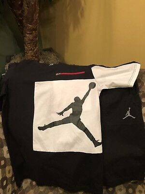 Boys Air Jordan Outfit Size M 8-10 👀 🌟 Red, Black & White ⭐️