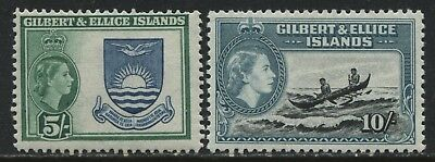 Gilbert & Ellice Islands QEII 1956 5/ & 10/ mint o.g.
