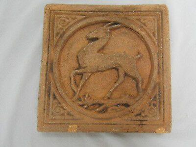 Antique Terracotta Tile Art Deco Deer Design