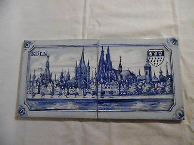 Antique Tile Lot Of 2 Koln Germany Hand Painted Blue White