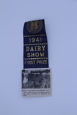 Rare Vintage 1941 Dairy Show Ribbon Nj State Fair First Prize Cow Knute Rockne