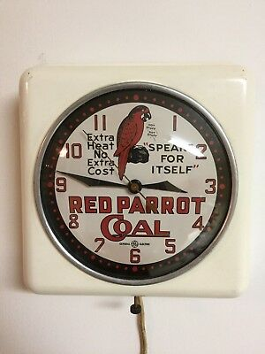 Vintage General Electric Red Parrot Coal Advertising Clock