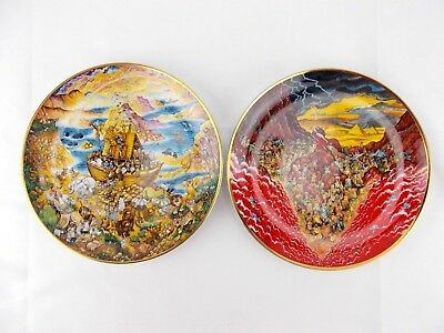 """FRANKLIN MINT Bill Bell """"Two by Two"""" & """"Parting of the Sea"""" Bible Plates"""
