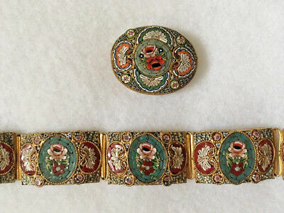Vintage Antique Victorian Italian Micro Mosaic Inlay Floral Brooch & Bracelet
