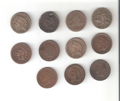 (11) Flying Eagle & Indian Head Pennies 1857 1858 1862 1863 1864 +