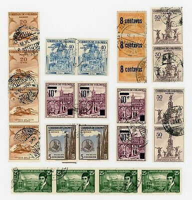 Lot of 63 Mid-Century Colombia Postage Stamps - Used, Hinged 1920s - 50s.