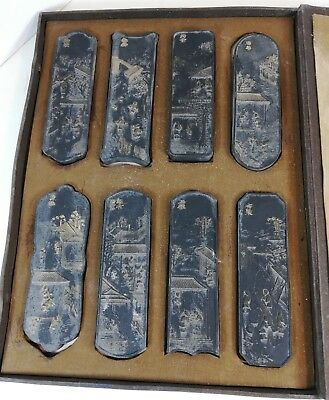 Set of 8 finely detailed Ink Stone medallions with gilt hi-lights in custom box