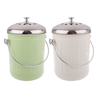 Kitchen 5L Compost Bin Canister Garbage Tin Bucket Set Retro Garden Waste