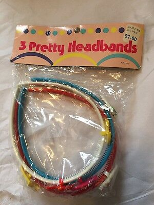 VINTAGE GIRLS PLASTIC HEADBANDS-LOT OF (3) ASST With Cute Fruit Faces. 1970s