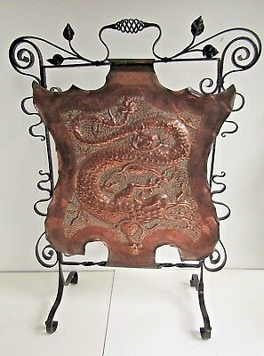 19th century Arts & crafts repousse fire screen- dragon wrought iron- Attractive
