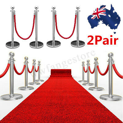 AU 4x Polished Stainles Queue Barrier + 1.5m Rope Crowd Control Bollards Stands