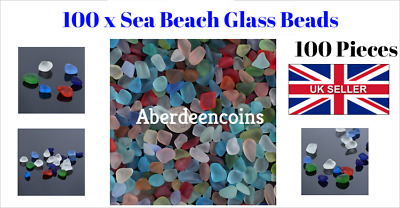 100pc Sea Beach Glass Beads Mixed Colours Bulk Blue Green Jewellery Pendant Deco