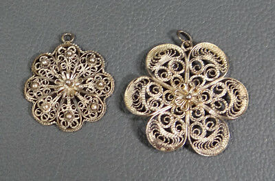 2x IMPERIAL RUSSIAN STERLING SILVER FILIGREE FLOWER NECKLACE CHAIN PENDANT FOB