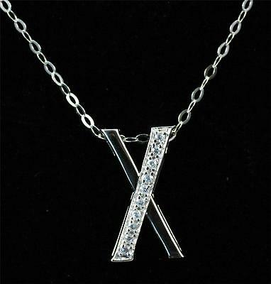 """Solid 925 Sterling Silver, CZ Initial Letter X Pendant Necklace 18"""""""